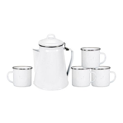 Enamel Percolator Coffee Pot & 4 Mug Set - White