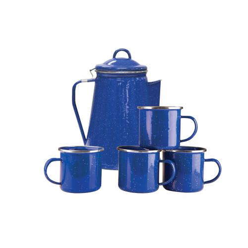 Enamel Percolator Coffee Pot & 4 Mug Set - Blue