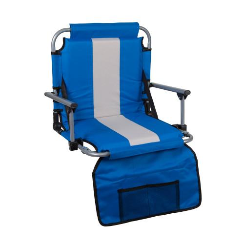 Tubular Frame Folding Stadium Seat with Arms - Blue/Tan