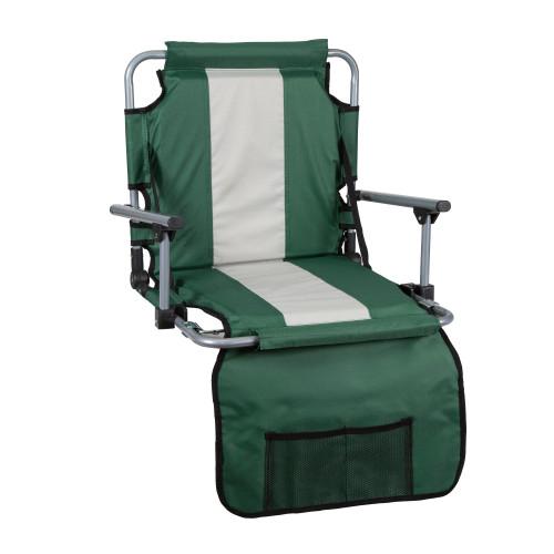 Tubular Frame Folding Stadium Seat with Arms - Green/Tan