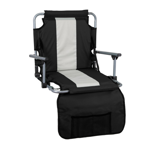 Tubular Frame Folding Stadium Seat with Arms - Black/Tan