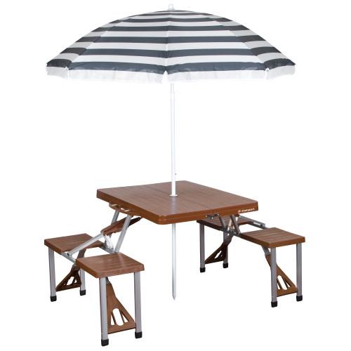 Picnic Table and Umbrella Combo - Brown