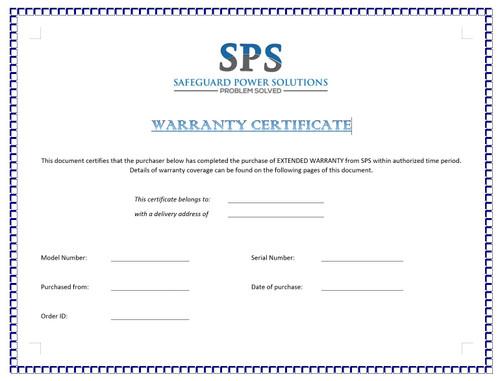 Extended warranty certificate