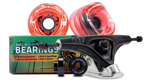 (Ships in January) 72MM BUNDLES. TRANSPARENT RED. DNA WHEELS WITH ABEC 9 BEARINGS & PRO SERIES TRUCKS