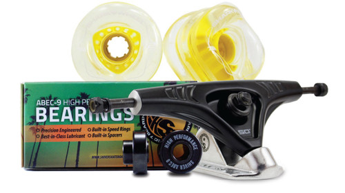 72MM Bundles. Clear with Yellow Hub.  DNA Wheels with Abec 9 Bearings & Pro Series Trucks