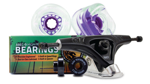 72MM Bundles. Clear with Purple Hub.  DNA Wheels with Abec 9 Bearings & Pro Series Trucks