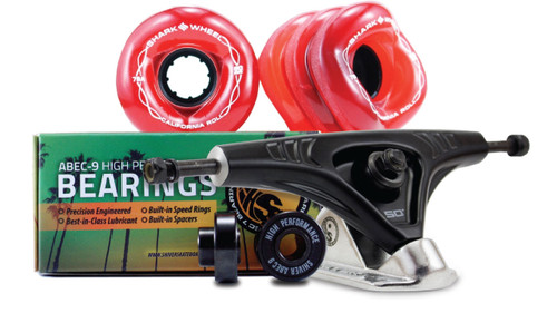60MM BUNDLES. TRANSPARENT RED. CALIFORNIA ROLL WHEELS WITH ABEC 9 BEARINGS & PRO SERIES TRUCKS
