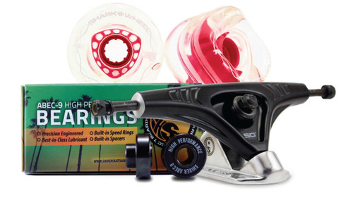 72MM BUNDLES. Clear with Pink Hub. DNA WHEELS WITH ABEC 9 BEARINGS & PRO SERIES TRUCKS (Estimated March 2021 Ship Date)