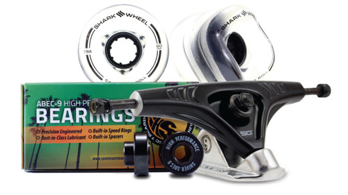 60MM BUNDLES. Clear with Black Hub. CALIFORNIA ROLL WHEELS WITH ABEC 9 BEARINGS & PRO SERIES TRUCKS
