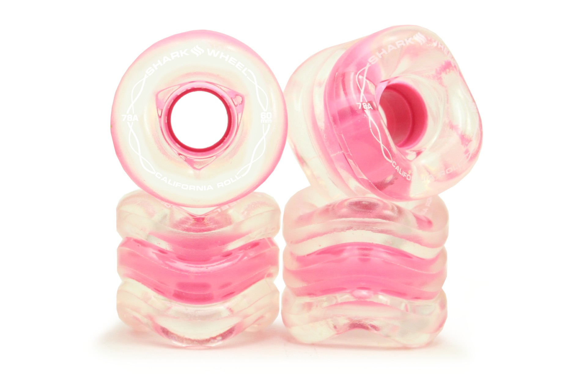 Shark Wheel 60MM 78A Clear With Pink Hub California Roll