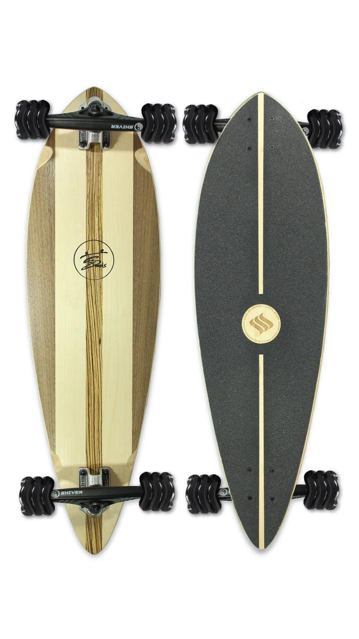 Natural Pintail Longboard (Custom Handmade Board) by Shark Wheel