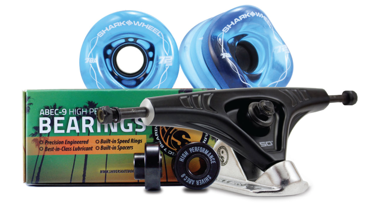 72MM Bundles. Sapphire.  DNA Wheels with Abec 9 Bearings & Pro Series Trucks