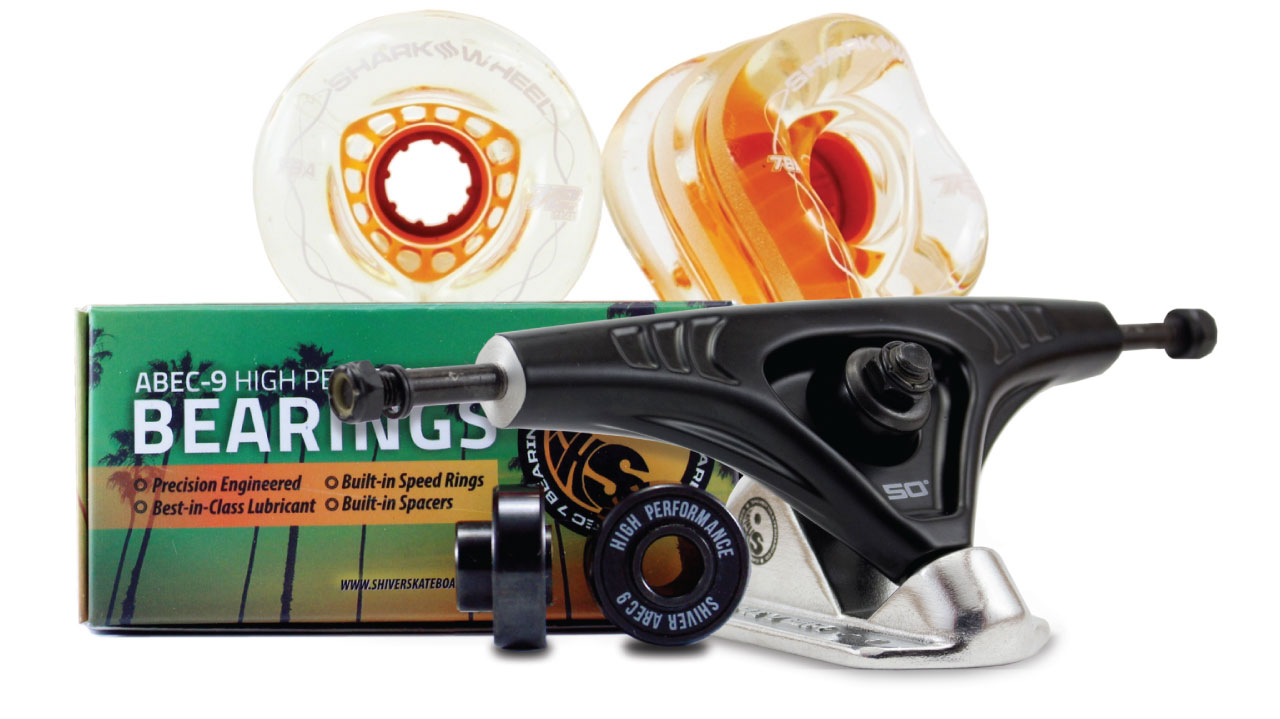 72MM Bundles. Clear with Orange Hub.  DNA Wheels with Abec 9 Bearings & Pro Series Trucks