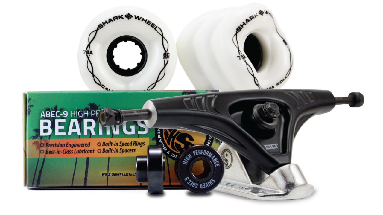 60MM BUNDLES. WHITE. CALIFORNIA ROLL WHEELS WITH ABEC 9 BEARINGS & PRO SERIES TRUCKS