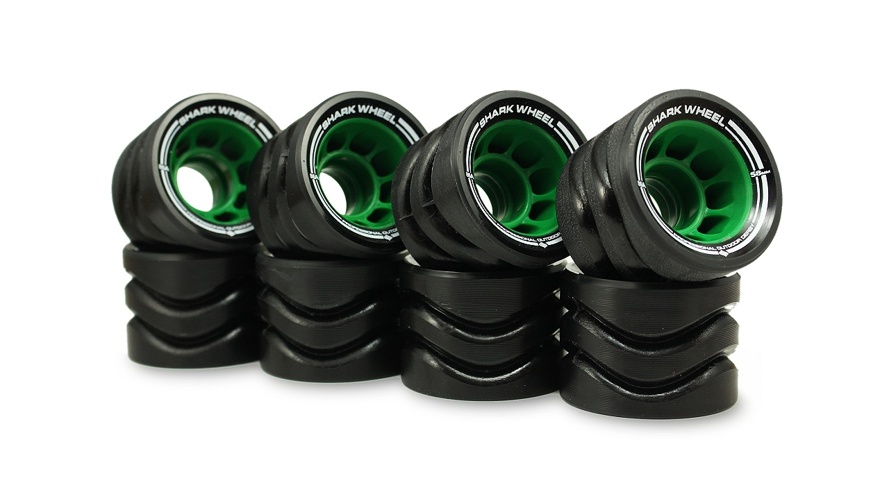 Shark Wheel 58MM, 86a Hybrid Quad Skate Wheels- Black with Green Hub