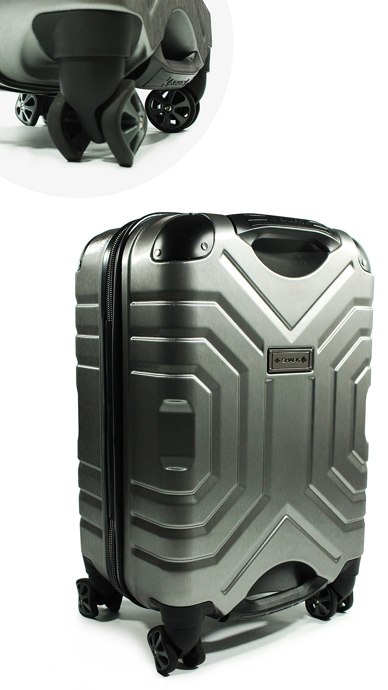 Carry-On Luggage by Shark Wheel (Silver/Black)