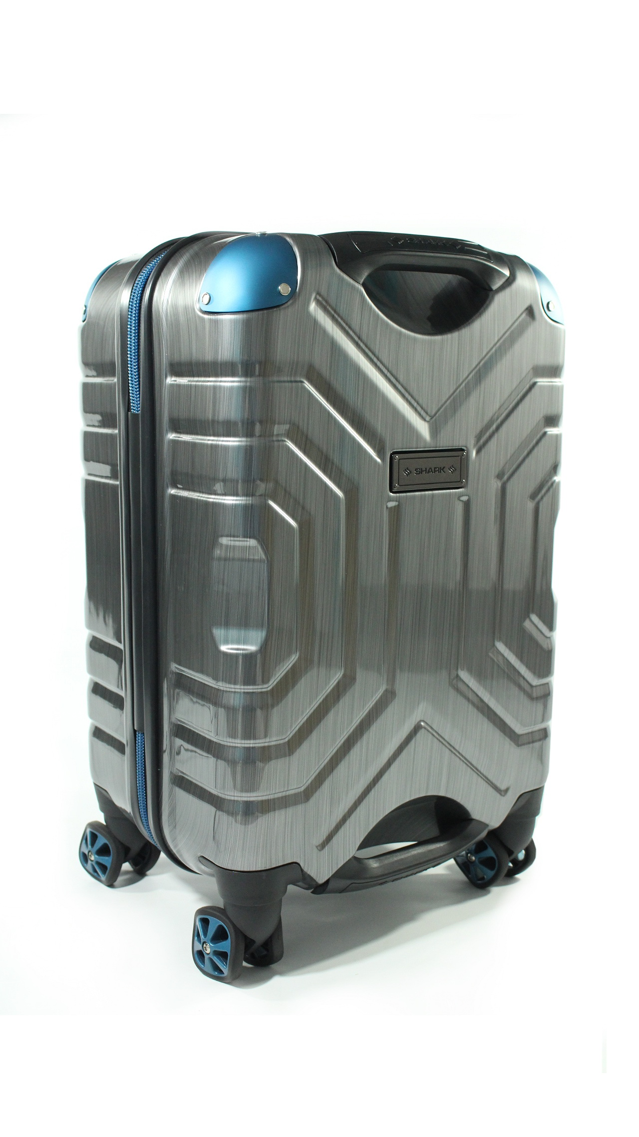Carry-On Luggage by Shark Wheel (Silver/Blue)