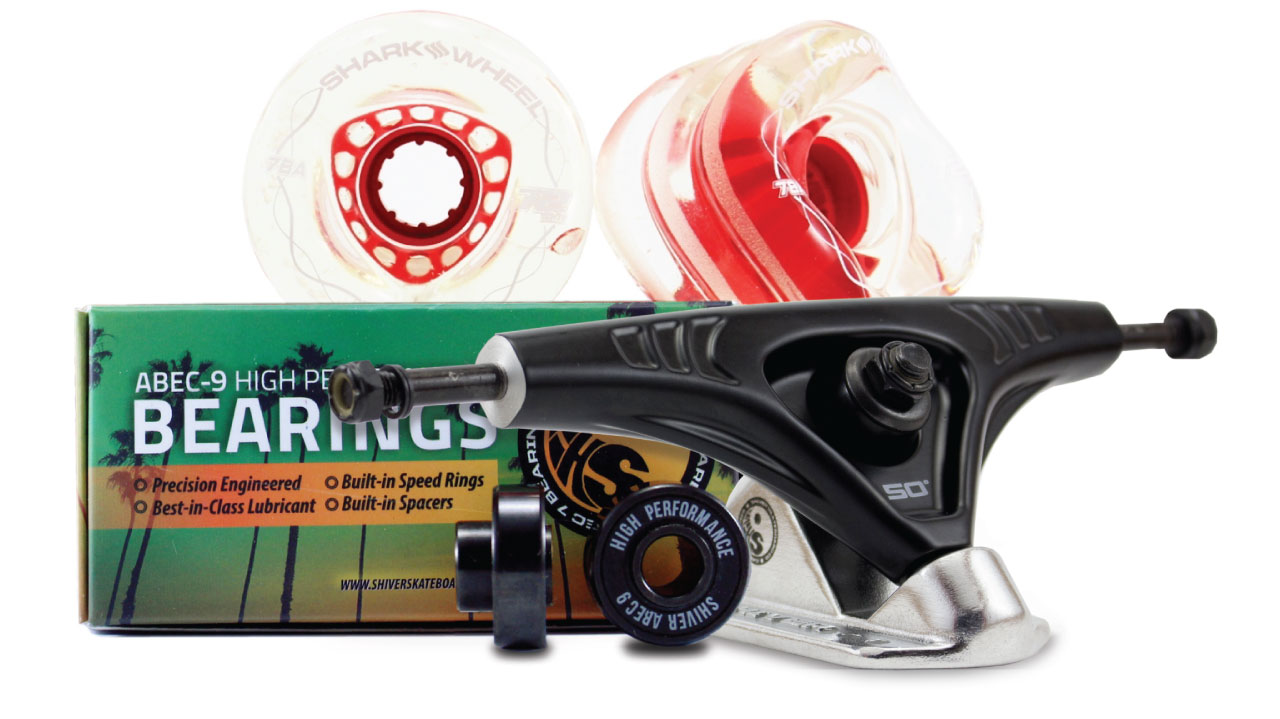 72MM BUNDLES. Clear with Red Hub. DNA WHEELS WITH ABEC 9 BEARINGS & PRO SERIES TRUCKS (Estimated March 2021 Ship Date)