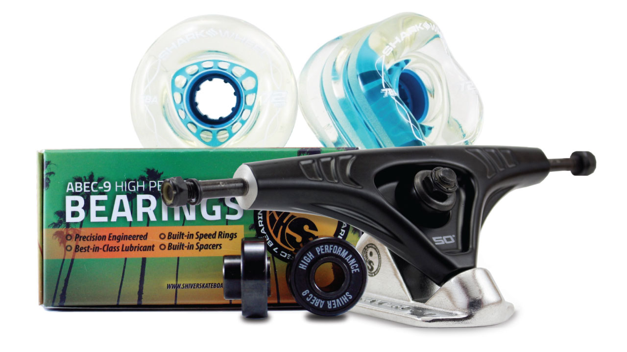 72MM BUNDLES. Clear with Blue Hub. DNA WHEELS WITH ABEC 9 BEARINGS & PRO SERIES TRUCKS (Estimated March 2021 Ship Date)