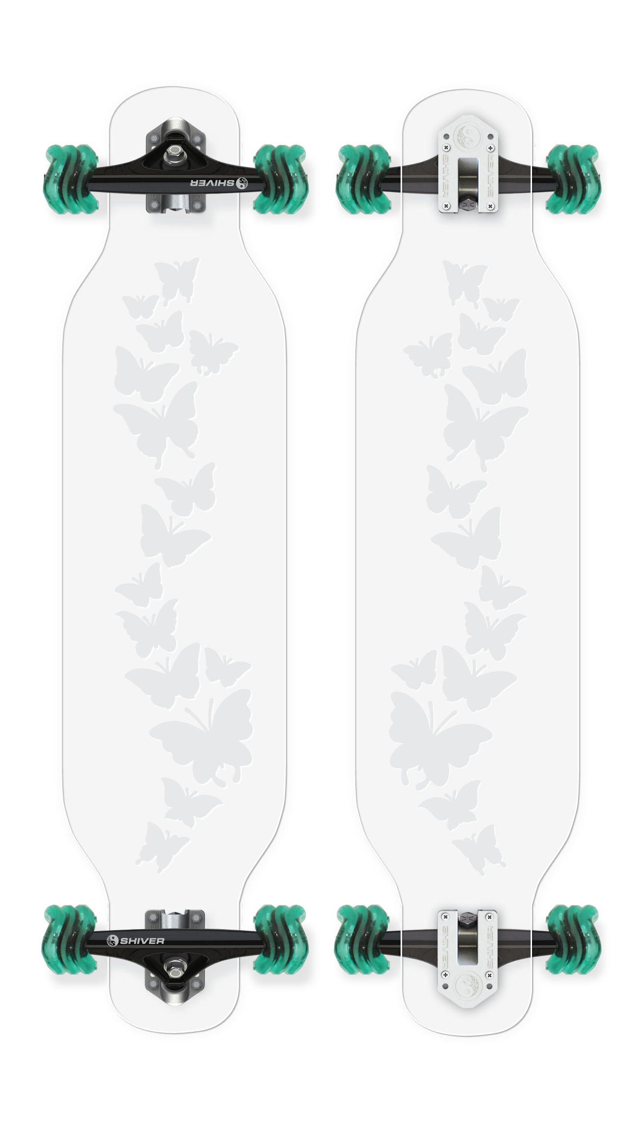 CLEAR Butterfly Longboard with Deck Lights