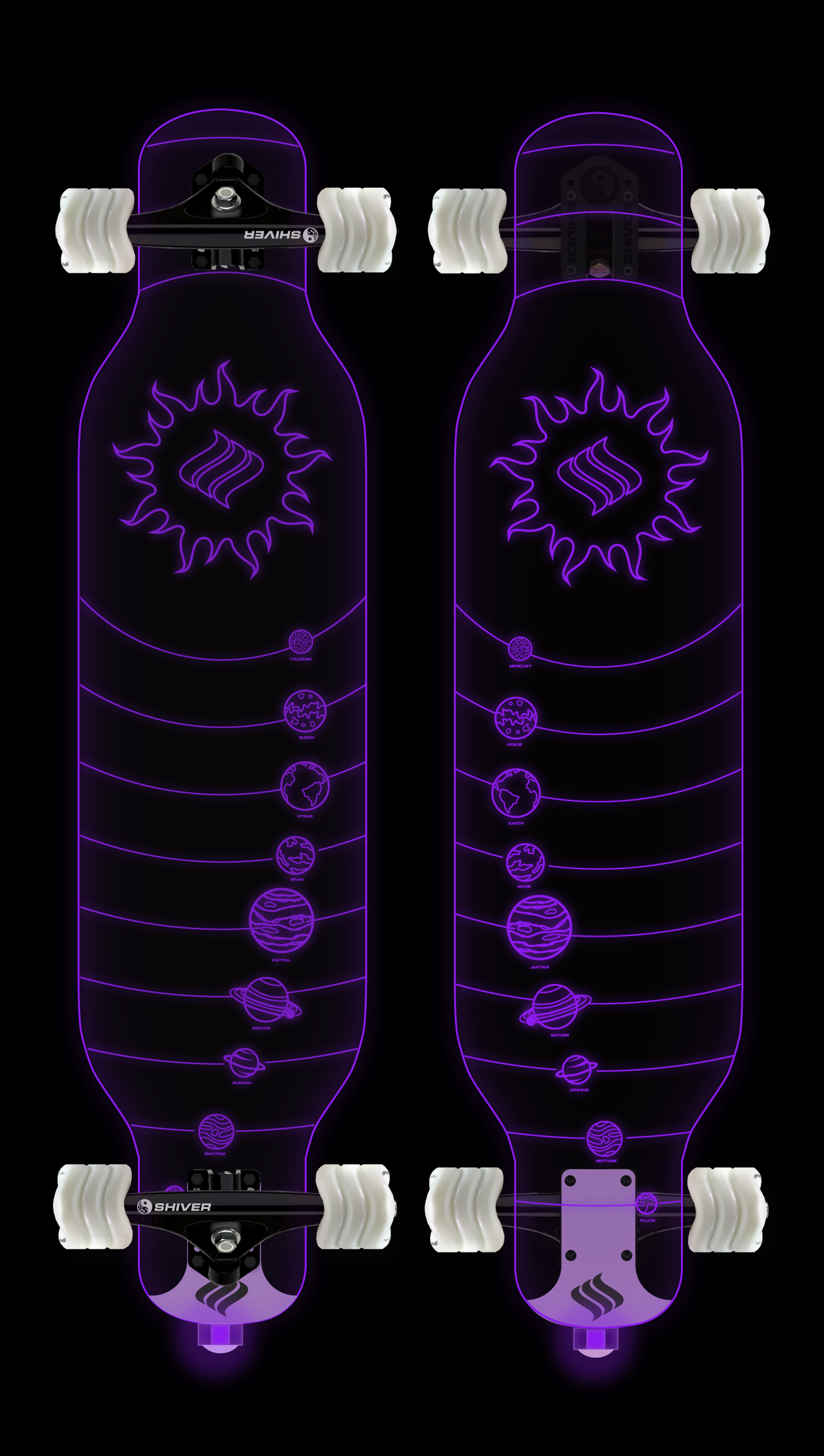 CLEAR Galaxy Longboard with Deck Lights
