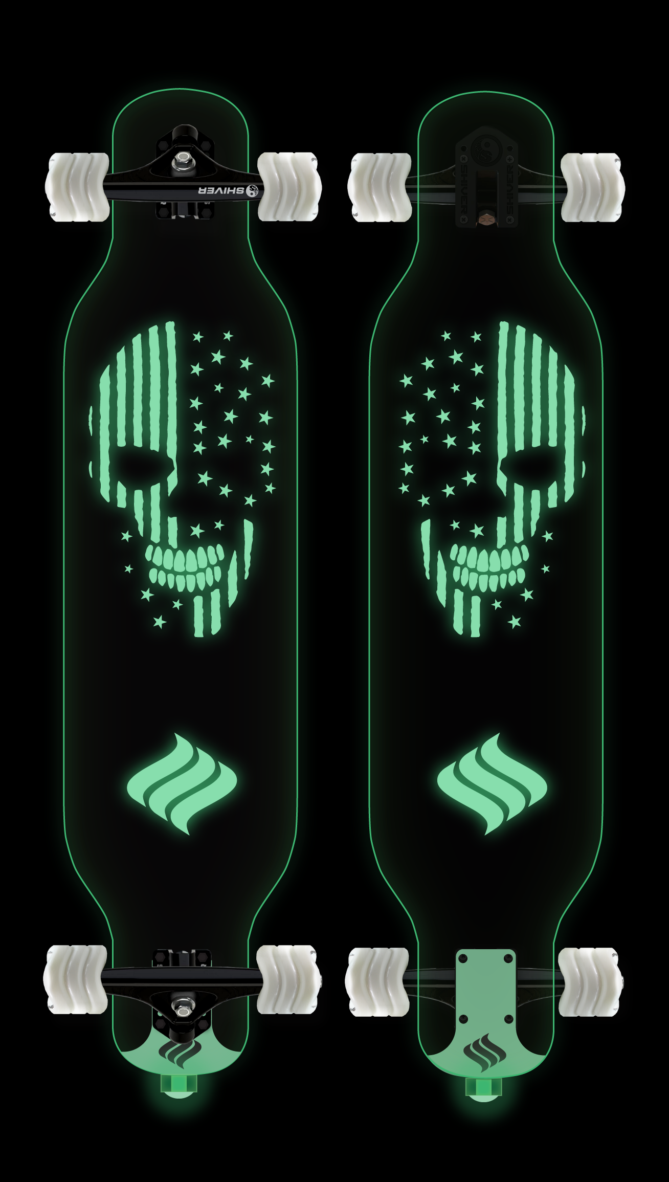 CLEAR Skull Longboard with Deck Lights