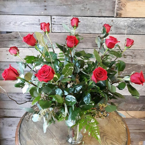 Twelve gorgeous long stem red roses, perfect for any romantic occasion