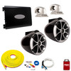"""Wet Sounds ICON8B-SC Black 8"""" Tower Speakers With Arc Audio KS-300.2 Amplifier with Wiring Kit"""