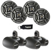 """Polk Audio Marine Wake Tower Package with 4 DB652 6.5"""" Coaxial Speakers and Dual Wake Tower Black Enclosures"""