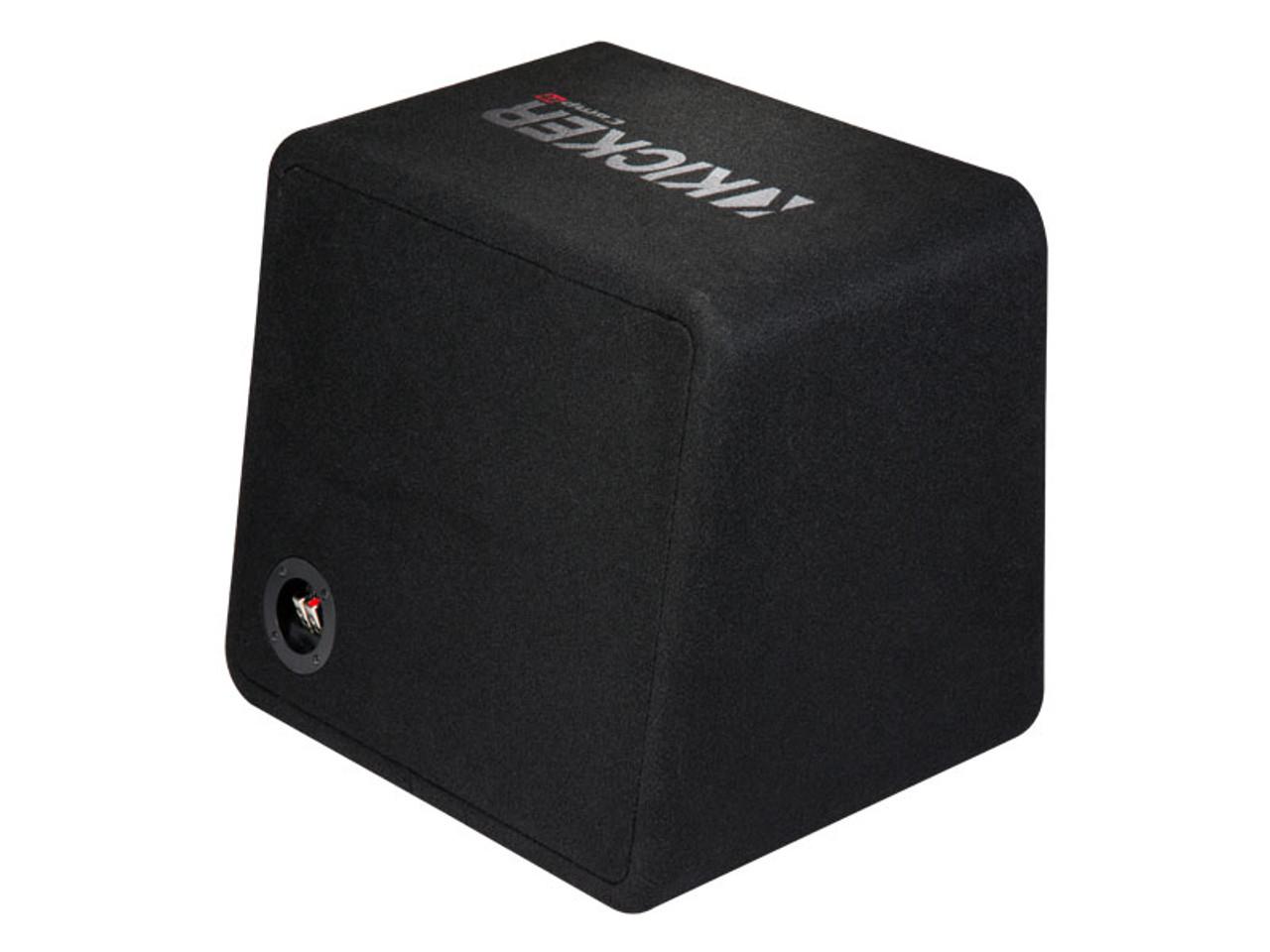 kicker 43vcwr122 comp r ported enclosure w/ crunch px2000 1d 2000 watt max mono  amp, wiring kit, grille, and bass knob  - creative audio