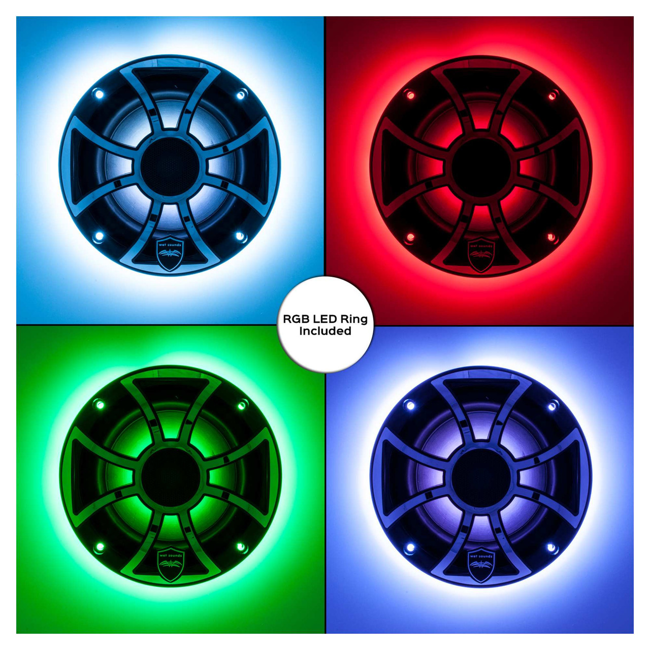 "Wet Sounds Refurbished REVO 6-XSB-SS Black XS Stainless 6.5/"" Marine LED Speakers"