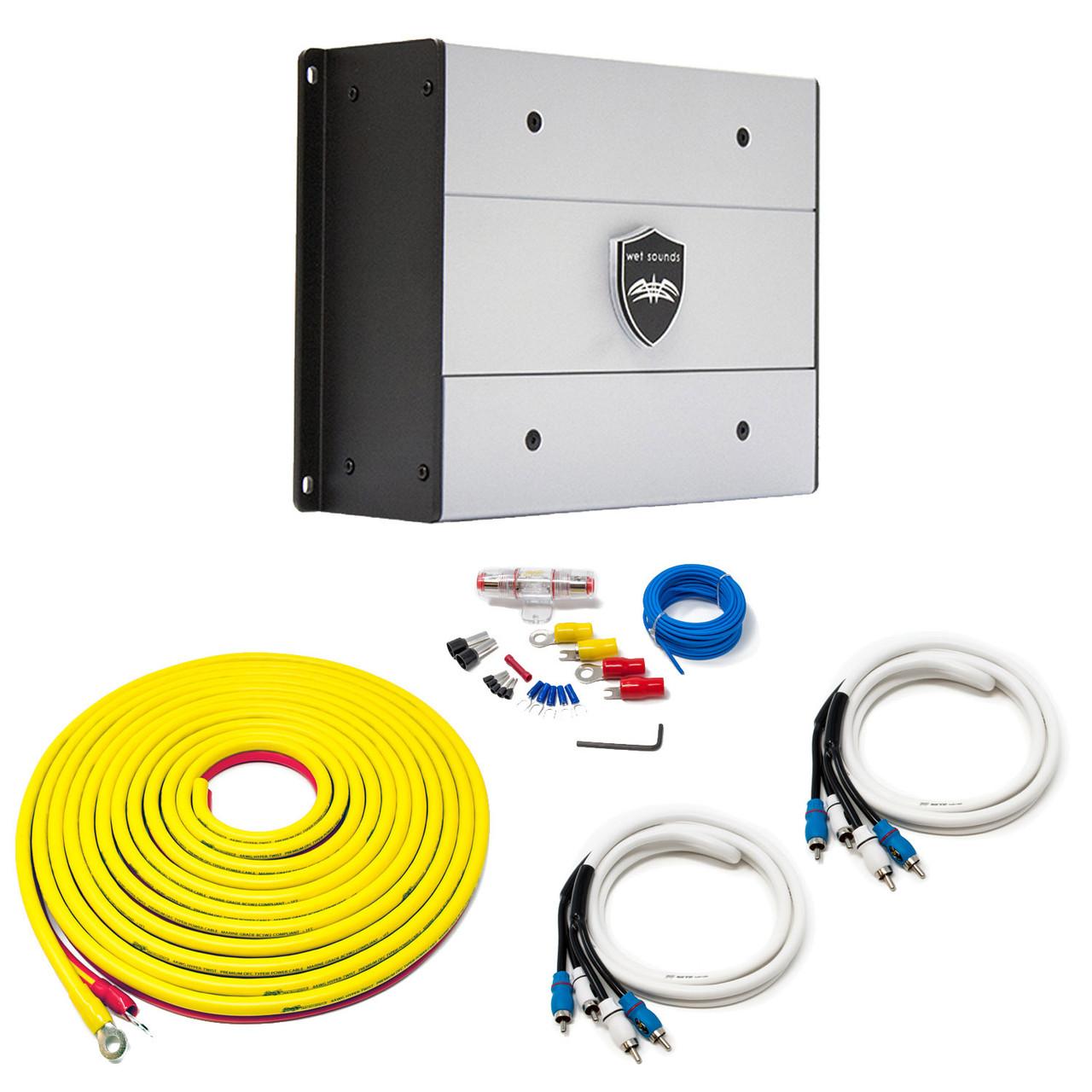 Wet Sounds HTX4 Package: 600 watt 4-channel amplifier & Stinger 7-Meter  4-Gauge Amplifier Wiring Kit w/ RCAs - Creative AudioCreative Audio