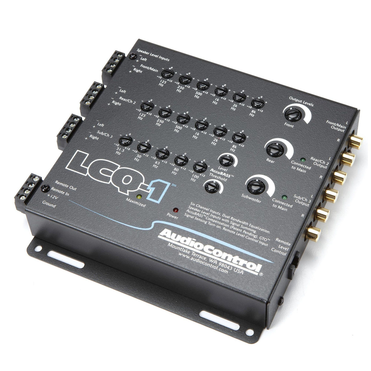 AudioControl LCQ-1 6 Channel Line Out Converter with EQ and Accubass, &  ACR-2 Dash Remote