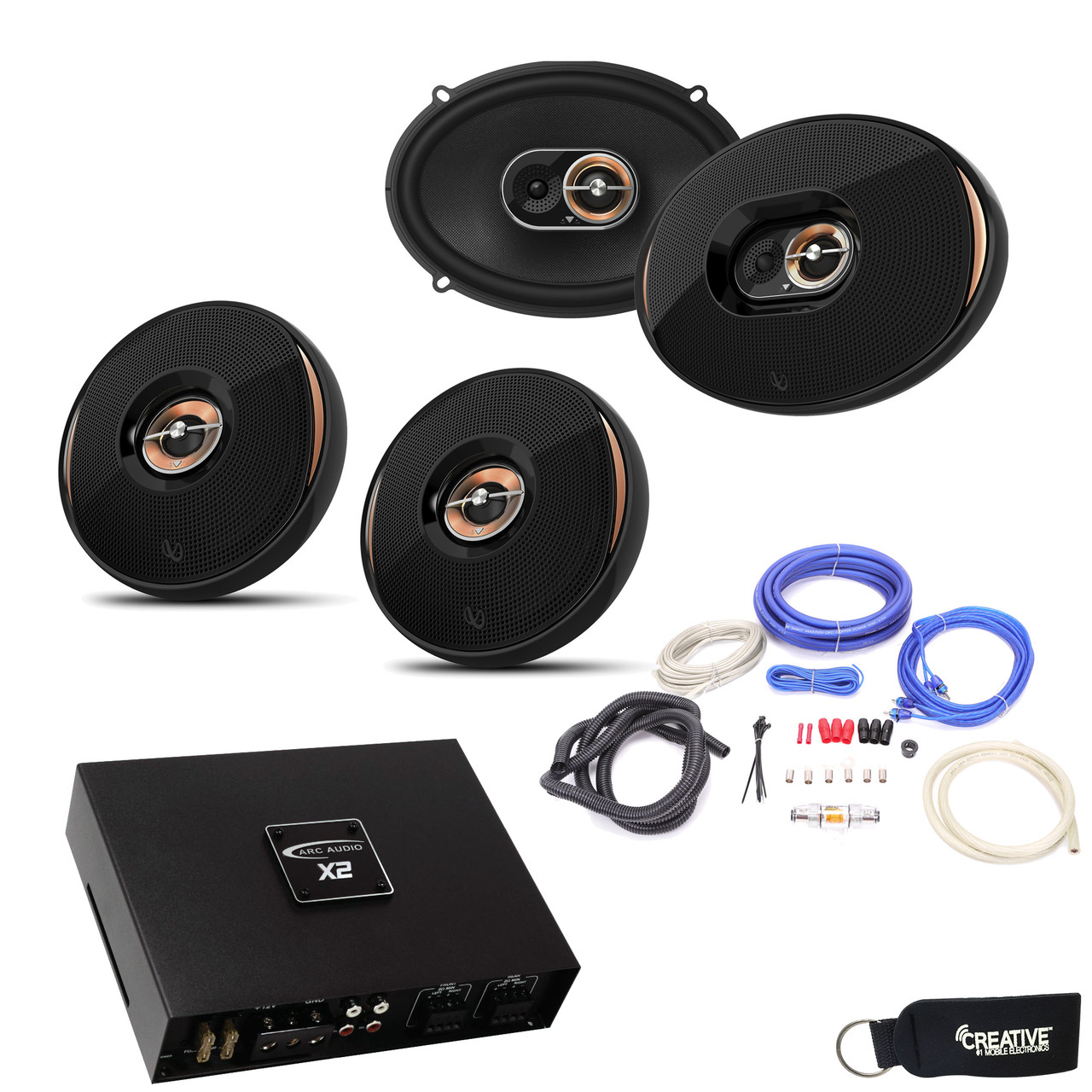Infinity KAPPA 90CSX 6x9 Components 93IX Coax Speakers ARC Audio X2 4504 4 Channel Amp Wire