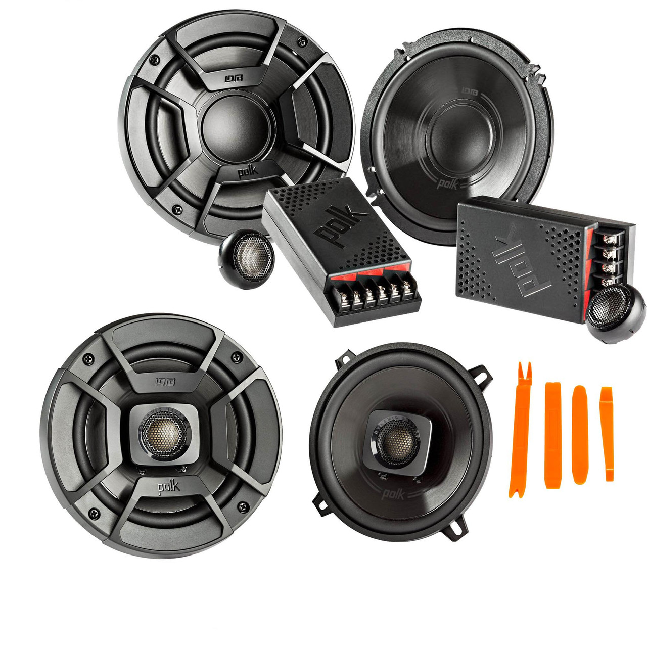 Bundle Includes 2 Pair A Pair of DB6502 6.5 Components and A Pair of DB692 6x9 Coax Speakers Polk Audio