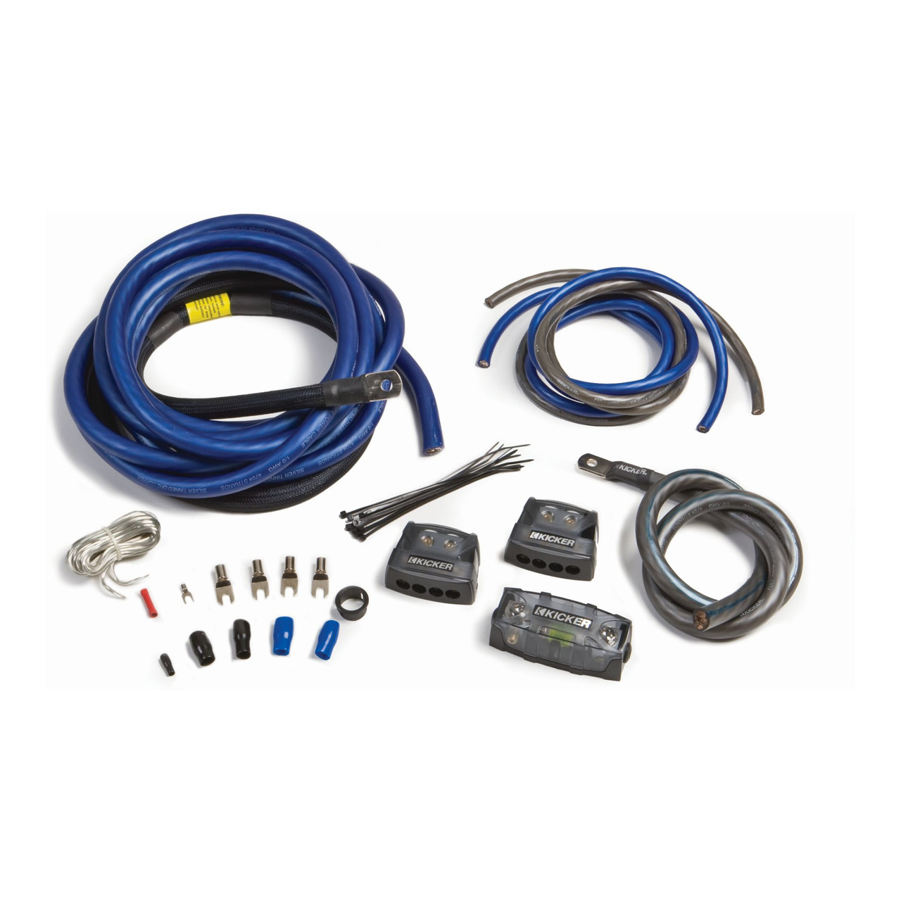 Kicker 46PKD1 PKD1 1/0AWG Dual Amplifier Power Kit - Power, Ground,  Distribution Block, Remote Wire and Fuse Block