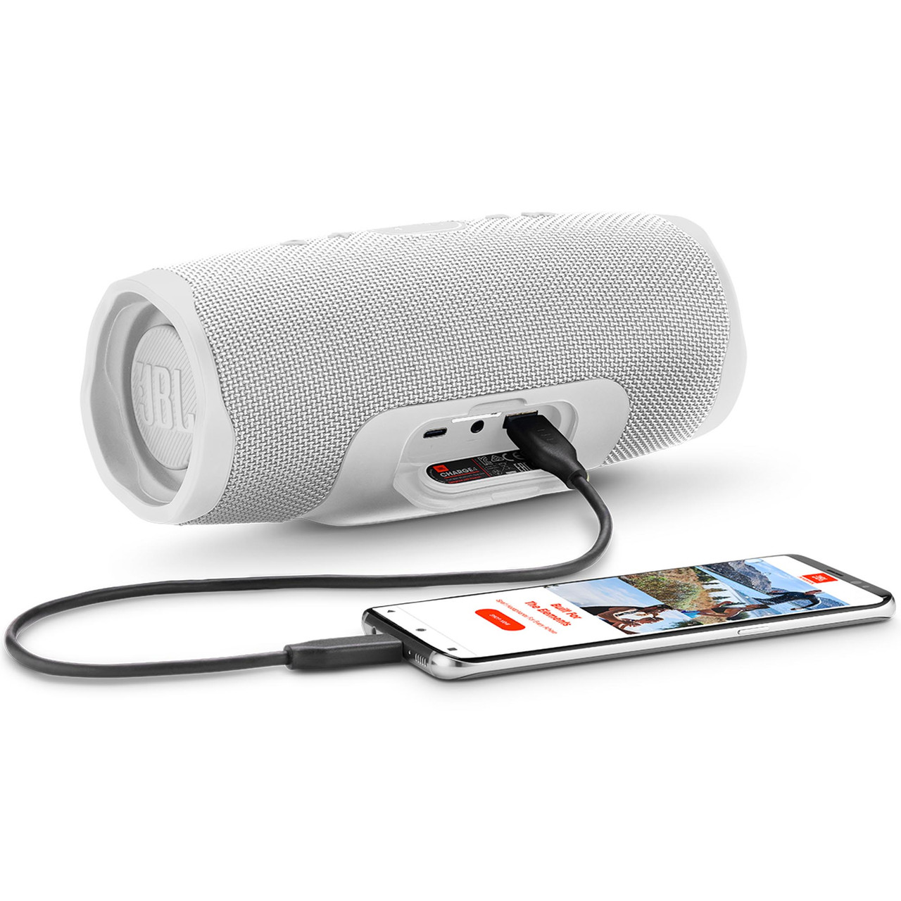 Jbl Charge4 White Waterproof Portable Bluetooth Speaker With 20 Hours Of Playtime Creative Audio