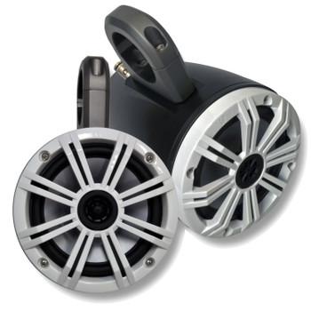 "Black Kicker Wake Tower System with Kicker White 6.5"" Marine Speakers (pair)"