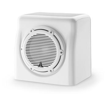 JL Audio FS108-W5-CG-WH: Single M8W5 Fiberglass Sealed Enclosure White Classic Grille 4 Ohm