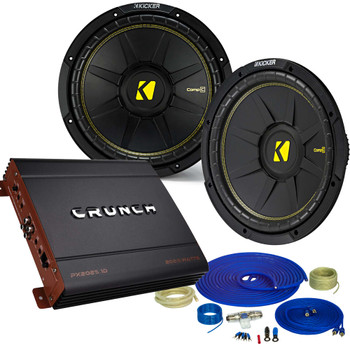 "Kicker 2 12"" Comp Subwoofers and a Crunch PX2000.1D 2000 Watt Max Amp + Amp wire kit Package"