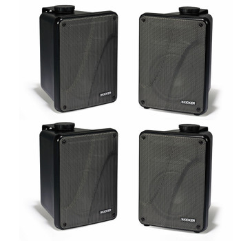 Kicker 11KB6000B Black Outdoor Speaker Bundle - 4 Speakers