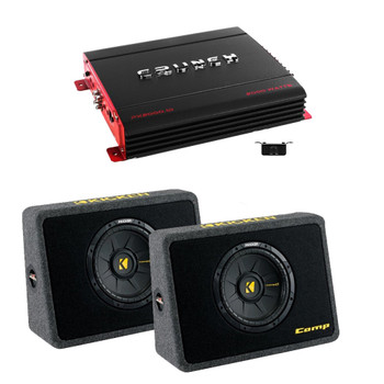 (2) Kicker40TCWS104 Truck Subwoofer Boxes, Crunch PX2000.1D 2000 Watt Max Mono Amp, Amp wire Kit