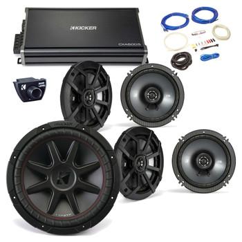 "Kicker 43CVR124 12"" CompVR Sub, 43CSC654 6.5"" CS-Series Speakers (2pair), 43CXA6005 CX-Series Amp,remote and wire kit"