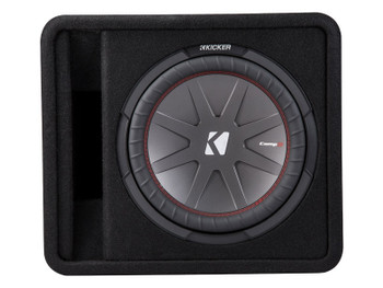Kicker 43VCWR122 Comp R ported enclosure w/ Crunch PX2000.1D 2000 Watt Max Mono Amp, Wiring Kit, grille, and Bass Knob.