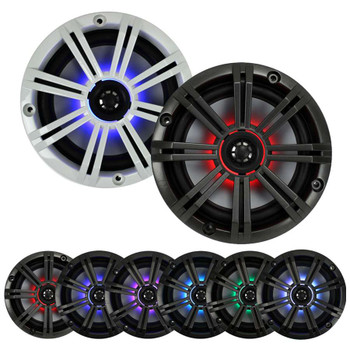 Kicker 8 Inch KM-Series Marine Chrome Grill Speaker Bundle 41KM84LCW with 41KMLC LED Remote
