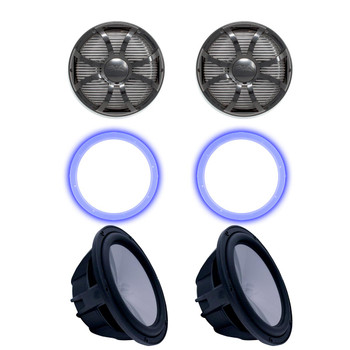 """Two Wet Sounds Revo 10"""" Subwoofers, Grills, & RGB LED Rings - Black Subwoofers & Black Closed Face SW Grills - 4 Ohm"""