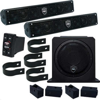 "Wet Sounds - Two Stealth 6 Surge Soundbars, 1.75"" Pipe Mounting Hardware, 10"" Sub AS-10 & WW-BTRS Bluetooth Controller"
