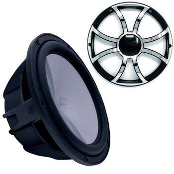 """Wet Sounds Revo 12"""" Subwoofer & Grill - Black Subwoofer & Black Grill With Stainless Steel Inserts - 4 Ohm"""