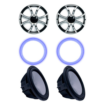 """Two Wet Sounds Revo 10"""" Subwoofers, Grills, & RGB LED Rings - Black Subwoofers & Black Grills With Steel Inserts - 4 Ohm"""