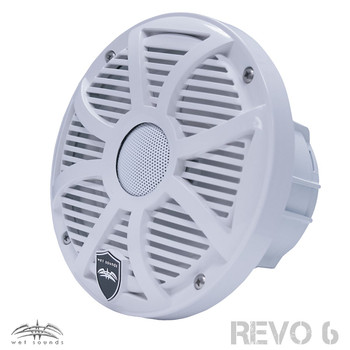 Wet Sounds REVO 6-SWW White Closed SW Grille 6.5 Inch Marine LED Coaxial Speakers (pair) with RGB LED Speaker Rings